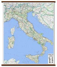 Italia - carta murale con cartografia molto dettagliata e aggiornata - plastificata, con eleganti aste in legno - 115 x 130 cm - edizione 2021