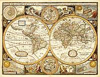 Carta Antica del Mondo - elegante riproduzione di una stampa antica del 1651 - con rappresentazione degli emisferi, elementi e sfera celeste