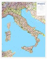 Italia - carta murale - plastificata e telata - 67 x 90 cm - fisico-politica, con limiti amministrativi e rete stradale
