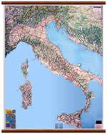 mappa murale Carta Murale d'Italia 100 x 111 cm (plastificata con eleganti aste in legno)