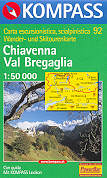 mappa topografica 92 - Chiavenna, Val Bregaglia, Madesimo, Passo dello Spluga, Campodolcino, Novate Mezzola, Morbegno, Juf, Avers, Passo del Maloja