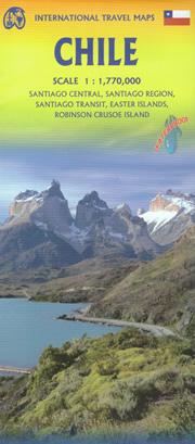 mappa Cile (Chile) con Santiago, Patagonia, Terra del Fuoco, Ushuaia, Isola di Pasqua e Robinson Crusoe stradale