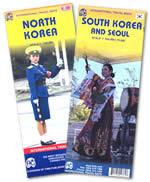 mappa stradale Corea del Nord e Sud / North and South Korea - con mappe di PyongYang e Seoul - Set di 2 mappe stradali