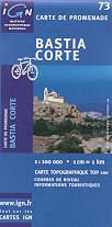 mappa stradale n.73 - Corsica del Nord con Bastia e Corte