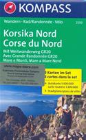 mappa n.2250 Corsica del set di 3 mappe escursionistiche con sentieri e GR20 per il trekking MTB compatibili GPS 2018