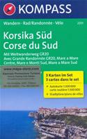 mappa n.2251 Corsica del set di 3 mappe escursionistiche con sentieri e GR20 per il trekking MTB compatibili GPS 2018