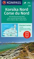 mappa n.2250 Corsica del set di 3 mappe escursionistiche con sentieri e GR20 per il trekking MTB compatibili GPS 2020