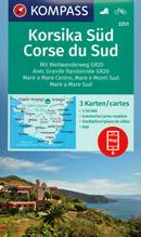 mappa n.2251 Corsica del set di 3 mappe escursionistiche con sentieri e GR20 per il trekking MTB compatibili GPS 2020