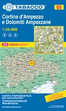 mappa n.003 Cortina d' Ampezzo e Dolomiti Ampezzane con Fanes, Senes, Croda Rossa, Tofane, Passo Falzarego, Valparola, Nuvolau, Selva di Cadore, Giau, S. Vito Sorapis, d'Ampezzo, Tre Croci, Cristallo, Lago Misurina, Cime reticolo UTM compatibile GPS 2021