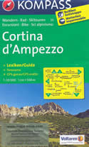 mappa n.55 Cortina d' Ampezzo, Selva di Cadore, Corvara, Badia, Monte Civetta e Pelmo, Pieve Tre Cime Lavaredo plastificata, impermeabile anti strappo + panoramica con reticolo UTM per sistemi GPS