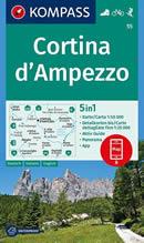 mappa n.55 Cortina d' Ampezzo, Selva di Cadore, Corvara, Badia, Monte Civetta e Pelmo, Pieve Tre Cime Lavaredo plastificata, impermeabile anti strappo + panoramica con reticolo UTM per sistemi GPS 2020
