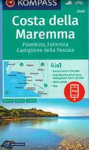 mappa n.2469 Costa Maremma con Piombino, Follonica, Castiglione Pescaia, Gavorrano, Vetulonia, Punta Ala, Marina di Grosseto, Ribolla, Valpiana, Venturina plastificata, compatibile sistemi GPS