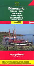 mappa stradale Danimarca - con Copenaghen, Groenlandia, Isole Faeroes, Odense, Arhus, Esbjerg, Aalborg, Nuuk, Torshavn