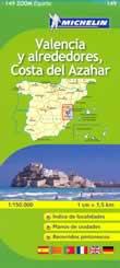 mappa stradale n.149 - dintorni di Valencia e Costa del Azahar - con castello de la Plana, Teruel