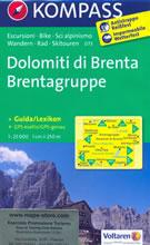 mappa n.073 Dolomiti di Brenta Parco Naturale Adamello Brenta, Cima Tosa, Pinzolo, Madonna Campiglio, Lago Tovel, Molveno, Mezzolombardo, M. Peller, Mezzana, Tione Trento plastificata, compatibile con GPS