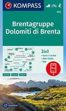 mappa n.073 Dolomiti di Brenta Parco Naturale Adamello Brenta, Cima Tosa, Pinzolo, Madonna Campiglio, Lago Tovel, Molveno, Mezzolombardo, M. Peller, Mezzana, Tione Trento plastificata, compatibile con GPS 2020