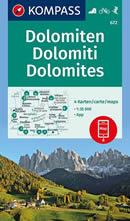 mappa topografica n.672 - DOLOMITI - set di 4 mappe escursionistiche, compatibili con sistemi GPS - con sentieri, rifugi, percorsi panoramici e vie ferrate - edizione 2021