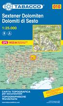 mappa n.010 Dolomiti di Sesto / Sextener Dolomiten Tre Cime, Croda dei Toni, Lago Misurina, Cimabanche, P. Vallandro, Villabassa, Dobbiaco, S. Candido, Corno Fana, Sillian, Sesto, Passo M. Croce Comelico, Padola, Kartitsch, Misurina con reticolo UTM compatibile sistemi GPS 2021