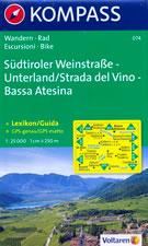 mappa n.074 Südtiroler Weinstraße, Unterland / Strada del Vino, Bassa Atesina Auer/Ora, Caldaro, Tramin, Termeno, Salorno, Appiano, Bolzano, Aldino, Trodena, Cavalese compatibile con GPS