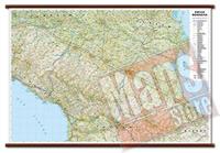 mappa Emilia Romagna murale con eleganti aste in legno, scrivibile e lavabile cartografia dettagliata ed aggiornata 119 x 72 cm
