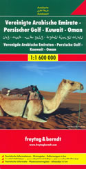 mappa stradale Emirati Arabi / UAE, Golfo Persico, Qatar, Bahrain, Kuwait, Oman, Sud dell'Iran, SudEst dell'Arabia Saudita - con Abu Dhabi, Dubai, Al-Ain, Sharjah, Fujairah, Doha, Riyad, Al Kharj, Ad Dammam, Al Manama, Sur, Bahla, Salalah