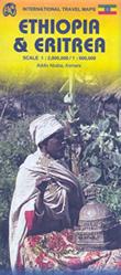 mappa Etiopia / Ethiopia, Eritrea con Addis Abeba, Dire Daua, Gondar, Macallè/Mekele, Bahar Dar, Gimma, Harar/Harer, Giggiga, Asmara, Assab, Massaua, Cheren, Decamerè, Mendefera