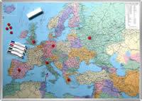 mappa d' Europa Magnetica 130x100cm su pannello in metallo (scrivibile o per l'applicazione di calamite) + Kit Lavagna