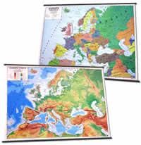 mappa Europa murale fisica e politica (stampata fronte retro) con aste 131 x 100 cm