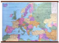 mappa Europa (con tutto il Mediterraneo) murale, plastificata, scrivibile, lavabile, con aste in legno cartografia politica, molto dettagliata 130 x 98 cm