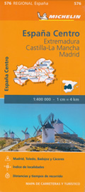 mappa n.576 Extremadura, Castilla La Mancha, Madrid Spagna carta stradale Michelin con Merida e Toledo
