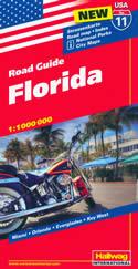 mappa n.11 Florida con Miami, Orlando, Everglades, Key West, Daytona Beach, Ft. Pierce, Myers, Tampa, Gainesville cartografia aggiornata, dettagliata e facile da leggere + stradale
