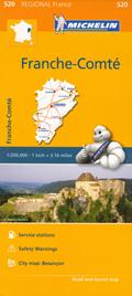 mappa n. 520 Franche Comté / Franca Contea con Besançon, Montbéliard, Lure, Belfort, Vesoul, Dole, Pontarlier, Lons le Saunier, Saint Claude stradale stazioni di servizio e autovelox