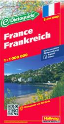 mappa Francia cartografia con una ricca simbologia stradale facile da consultare + tabella scorrevole per le distanze stradali