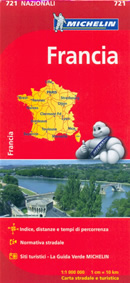 mappa n.721 Francia / France stradale con distanze e tempi di percorrenza