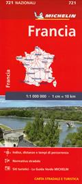 mappa Francia / France stradale Michelin n.721 con indice, distanze e tempi di percorrenza
