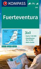 mappa topografica Fuerteventura (Isole Canarie) - mappa escursionistica - con sentieri, spiagge, percorsi panoramici - compatibile con sistemi GPS - Kompass n.240 - edizione 2021