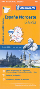 mappa n.571 Galicia/Galizia con Santiago de Compostela, La Corugna, Vigo, Lugo, Pontevedra, Ourense