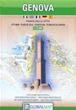 mappa Genova di città con ingrandimento del centro, zone industriali ed elenco strade