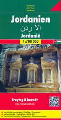 mappa stradale Giordania - con Amman, Irbid, Zarqa, Aqaba, Al-Salt, Madaba, Jerash/Gerasa, Ma'an, Karak,Ra's al-Naqb - edizione 2013