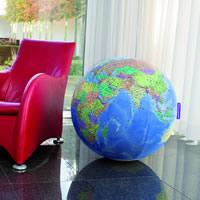 globo Globo Geografico Gigante gonfiabile, rivestito in tessuto elastico e lavabile con cartografia aggiornata di alta qualità il regalo ideale per appassionati viaggi, adatto l'arredamento o imparare la geografia modo divertente grande formato, diametro 75 cm