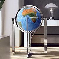 globo Globo geografico gigante, luminoso con cartografia fisica/politica, elegante complemento d'arredo piedistallo in acciaio diametro 50 cm (altezza 100 cm)