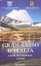 mappa Gran Sasso d'Italia carta dei sentieri con rifugi, percorsi CAI numerati, cascate, sorgenti, grotte