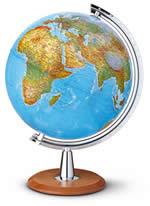 globo Grande globo geografico da scrivania luminoso, con cartografia fisica e politica, robusto sostegno base in legno diametro 40 cm (altezza 50 cm)