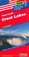 mappa n.3 Great Lakes con Chicago, Detroit, Niagara Falls, Isle Royale cartografia aggiornata, dettagliata e facile da leggere + stradale