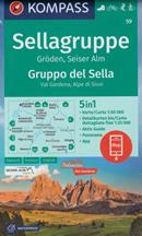 mappa n.59 Gruppo di Sella / Sellagruppe, Alpe Siusi, Val Gardena, Corvara, Badia, Vigo Fassa, Moena, Marmolada, Canazei, Alleghe, Vich, Cornedo, Ortisei, Chiusa, Passo Pordoi compatibile con GPS + panoramica 2021