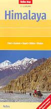 mappa stradale Himalaya - con Tibet, Kashmir, Nepal, Sikkim, Bhutan, Everest, Kabul, Islamabad, Kathmandu