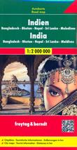 mappa India con Bangladesh, Bhutan, Nepal, Sri Lanka, Maldive cartografia facile da leggere, precisa ed aggiornata luoghi panoramici, parchi, riserve naturali, templi e siti archeologici 2019