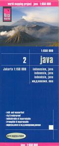mappa Isola di Java (Indonesia) con Jakarta spiagge, luoghi panoramici, riserve naturali impermeabile e antistrappo