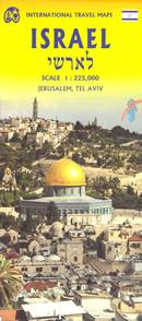 mappa Israele e Palestina con Gerusalemme, Tel Aviv stradale 2019