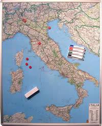 mappa murale Mappa d' Italia Magnetica 100 x 140 cm su pannello in metallo (scrivibile o per l'applicazione di calamite) + Kit Lavagna Magnetica
